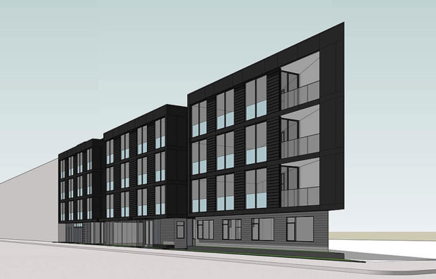 The 19-unit project at 2600 Harrison St. Design by Kerman Morris Architects.